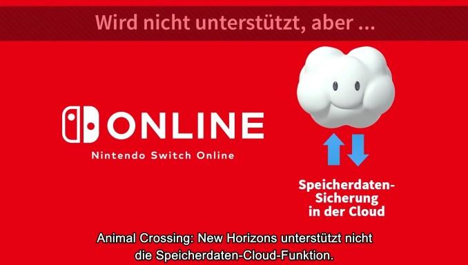 Das Bild zeigt die fehlende Speicherdaten-Cloud-Funktion in Animal Crossing: New Horizons.