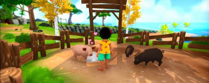 Das Bild zeigt Koa, die Protagonistin des Spiels Summer in Mara inmitten ihrer Tiere. Ein rosarotes und ein braunes Schwein ist zu sehen. Die Weide ist von einem Zaun aus Holz umgeben.