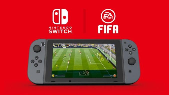 Das Bild zeigt eine Nintendo Switch, auf welcher Fifa läuft.
