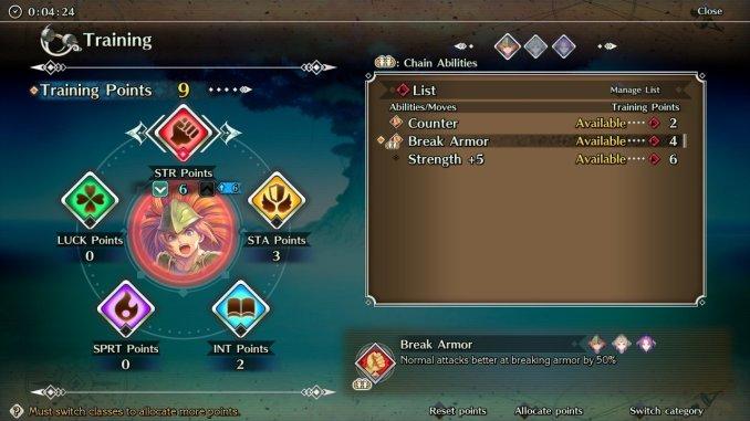 Das Bild zeigt das Menü zum Vergeben der Entwicklungspunkte in Trials of Mana.
