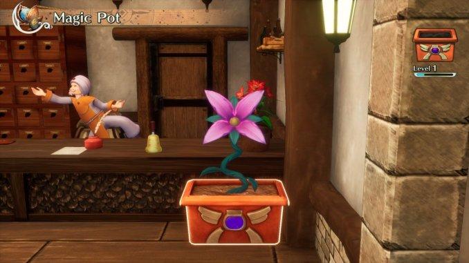 Das Bild zeigt einen magischen Topf in einemGasthaus von Trials of Mana.