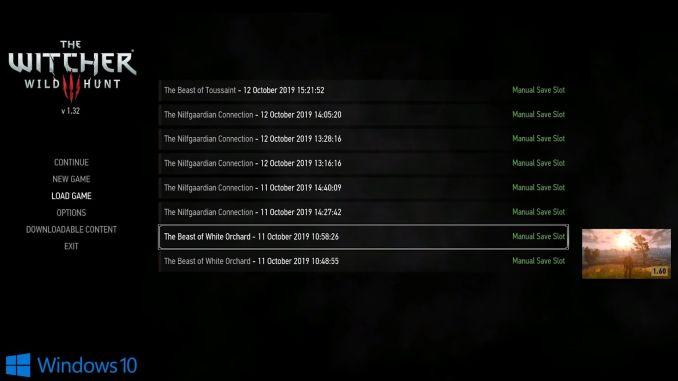 The Witcher 3 Patch – dieses Bild zeigt den Auswahl-Bildschirm für Speicherstände auf dem PC, die nun auch auf der Switch geladen werden können.