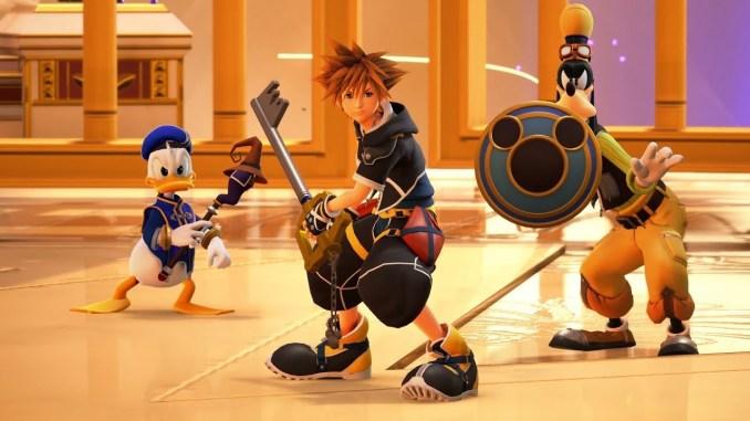 Das Bild zeigt einen Ausschnitt aus Kingdom Hearts 3. Zu sehen sind Donald, Goofy und Sora.