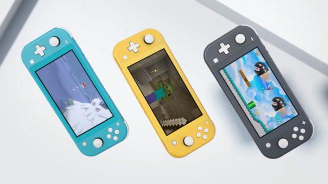 Das Bild zeigt drei Nintendo Switch Lite-Konsolen. Laut Furukawa wird sie vor allem als Zweitsystem verwendet.