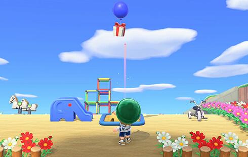 Das Bild zeigt, wie ein Bewohner mit einer Schleuder einen Ballon abschießt.