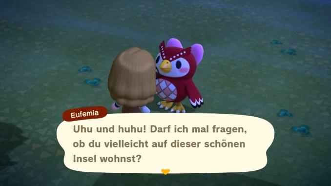 """Das Bild zeigt mein gespräch mit Eufmia am 23.03.2020 in """"Animal Crossing: New Horizons""""."""