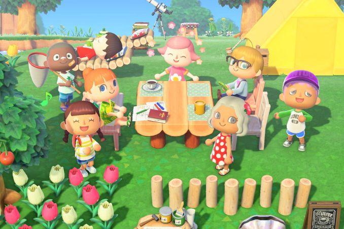 Das Bild zeigt die Bewohner von Animal Crossing: New Horizons zusammen an einem Essenstisch im Garten.