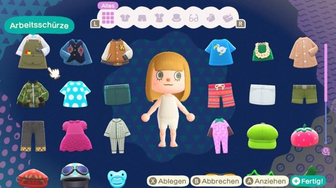 Das Bild zeigt das Kleiderschrankmenü von Animal Crossing: New Horizons.