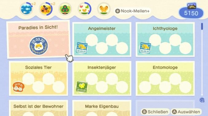 Das Bild zeigt einen wichtigen Teil von Animal Crossing: New Horizons. Man erkennt den Startbildschirm der App Nook-Meilen(+). Man erkennt verschiedene normale Aufgaben und auch die Tagesaufgaben.