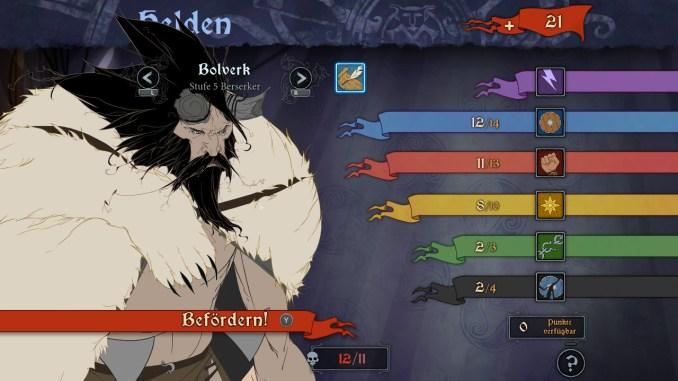 Auf dem Bild ist ein Charakterbilschirm zu sehen, auf dem sich die einzelnen Attribute nach einem Stufenaufstieg steigern lassen.