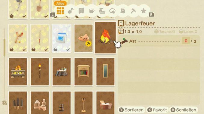 Das Bild zeigt einen wichtigen Teil von Animal Crossing: New Horizons. Man erkennt diverse Bastelanleitungen. Aktuell ist das Lagerfeuer ausgewählt. Man kann aber auch Köder, Ausrüstungen oder Möbel craften.