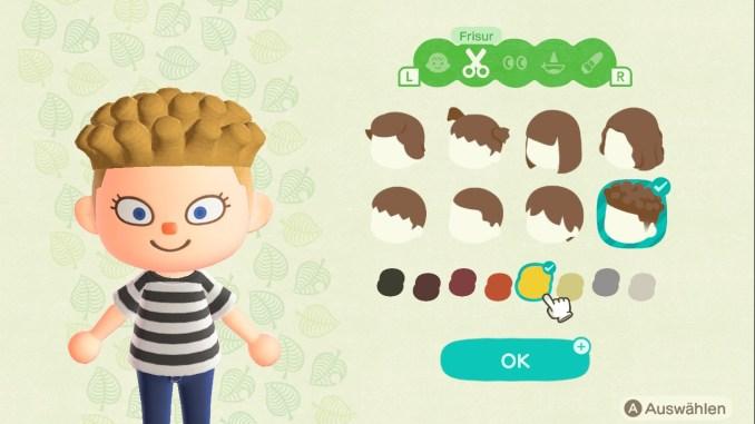 Das Bild zeigt einen wichtigen Teil von Animal Crossing: New Horizons. Man erkennt acht verschiedene Frisuren und acht verschiedene Haarfarben. Vier Frisuren sind männlich, vier Frisuren sind weiblich.