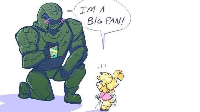 """Das Bild zeigt den Demonslayer aus """"Doom"""" und Melinda aus """"Animal Crossing""""."""