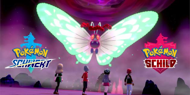 Das Bild zeigt ein wildes Gigadynamax-Smettbo in der Naturzone. Vier Charaktere stehen vor ihm. Rechts und Links von Smettbo sind die Schriftzüge von Pokémon Schwer und Schild zu sehen.