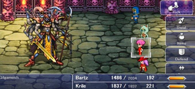 Das Bild zeigt einen Kampf in Final Fantasy V. Die aus vier Helden bestehende Party kämpft gegen einen neuen Gegner namens Gigamesh. Er erinnert an die indische Göttin Krishna.