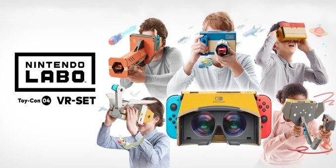 Das Bild zeigt die verschiedenen VR-Bauteile des Nintendo Labo-Sets für Nintendo Switch.