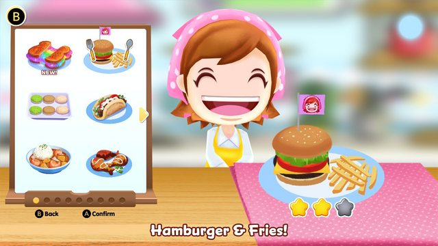 Das Bild zeigt ein Rezept aus Cooking Mama: Cookstar. Es handelt sich um Hamburger mit Fritten. Mama freut sich darüber.