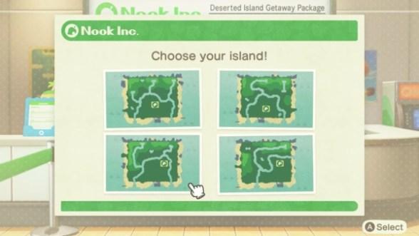 Das Bild zeigt einen wichtigen Teil von Animal Crossing: New Horizons. Man erkennt vier Karten von unterschiedlichen Inseln. Eine muss man auswählen. Jede Insel hat einen Fluss und drei unterschiedliche Ebenen.