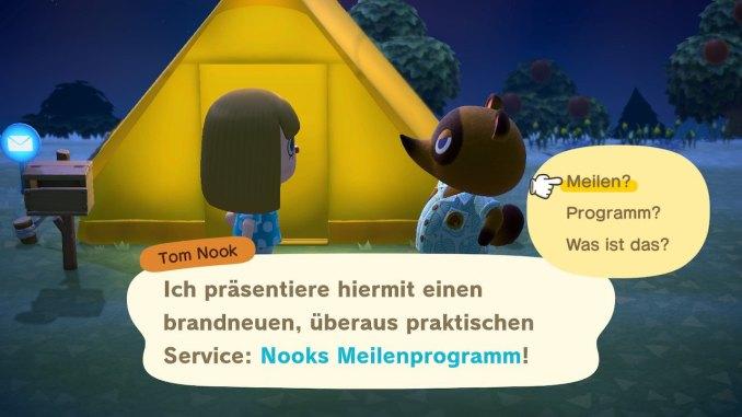 Das Bild zeigt einen wichtigen Teil von Animal Crossing: New Horizons. Wir stehen vor unserem gelben Zelt, ein Briefkasten ist zu sehen. Tom Nook erklärt uns gerade das neue Meilenprogramm.