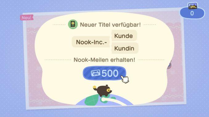 Das Bild zeigt einen wichtigen Teil von Animal Crossing: New Horizons. Wir haben eine Aufgabe erfolgreich abgeschlossen und dadurch sowohl Meilen wie auch einen neuen Titel freigeschalten. Im unteren Bereich läuft ein Tanuki über eine Erdkugel.