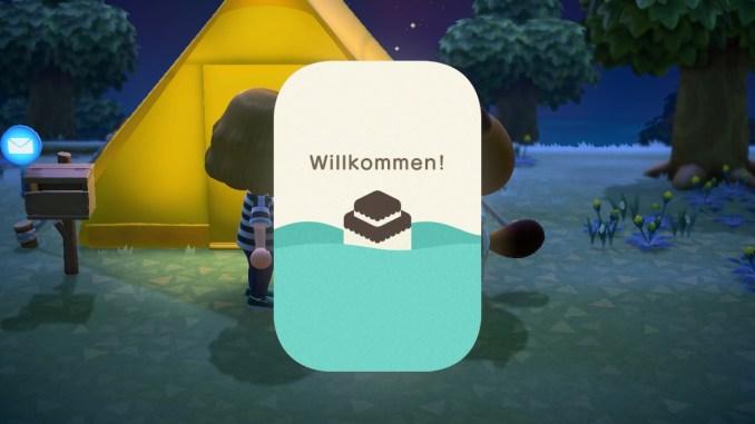 Das Bild zeigt einen wichtigen Teil von Animal Crossing: New Horizons. Das NookPhone wird gerade gestartet und heißt uns willkommen. Im Hintergrund erkennt man Tom Nook und unser gelbes Zelt.