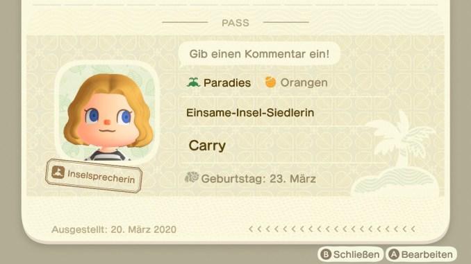 Das Bild zeigt einen wichtigen Teil von Animal Crossing: New Horizons. Es Zeigt den Inselbewohnerpass. Hier ist der Name, das Geburtsdatum, der Name der Insel, die Startfrucht, der Titel und ein Kommentar zu sehen.
