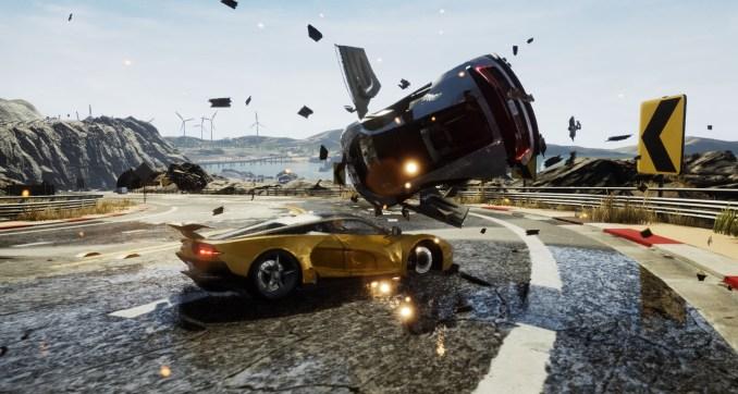 Das Bild zeigt einen spektakulären Unfall in Dangerous Driving 2.
