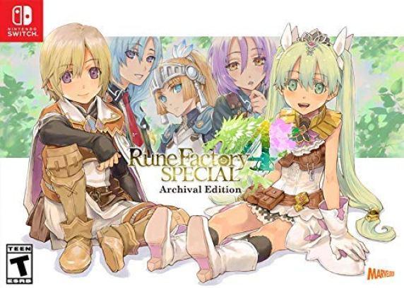 Dass Bild zeigt ein Nintendo Switch Cover von Rune Factory 4 Special. Die beiden möglichen Hauptcharaktere der Reihe sind zu sehen. Im Hintergrund erkennt man drei wichtige Nebencharaktere.