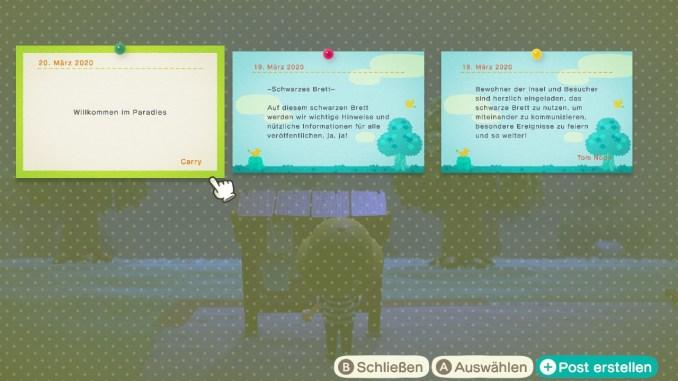 Das Bild zeigt einen wichtigen Teil von Animal Crossing: New Horizons. Man erkennt das schwarze Brett an welchem drei Nachrichten angepinnt sind. Zwei sind von Tom Nook in blau, unsere Nachricht ist in weiß.