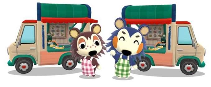 Das Bild zeigt einen wichtigen Teil von Animal Crossing: New Horizons. Man erkennt Tina und Sina vor zwei Wohnmobilen. Tina ist ein blauer Fuchs, Sina ist ein brauner Fuchs.