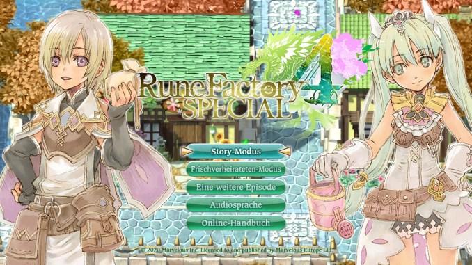 Das Bild zeigt den Startbildschirm von Rune Factory 4 Special. Man sieht die verschiedenen Optionen darunter der Story-Modus, den Frischverheirateten-Modus, eine weitere Episode, die Audiosprache und das Online Handbuch.