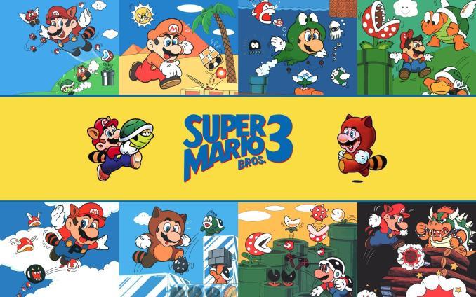 Das Bild zeigt das Cover von Super Mario 3. Man sieht verschiedene Artworks, die die einzelnen Welten in dem Spiel darstellen. Mario in der Wüste, im Wasser und im Himmel. Am Ende ist Bowser in einem Panzer zu sehen.