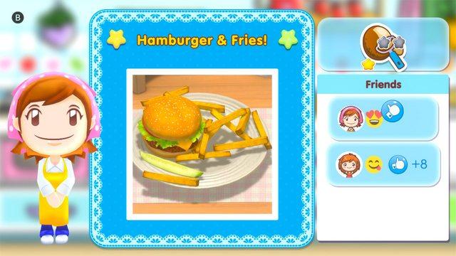 Das Bild zeigt ein geteiltes Gericht aus Cooking Mama: Cookstar. Hamburger mit Fritten wurden geteilt und einige Freunde haben drauf reagiert.