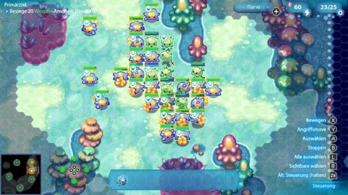 Das Bild zeigt unterschiedliche Einheiten in dem Spiel Amoeba Battle. Man erkennt Allesfresser und zwischen drin Pflanzenfresser.