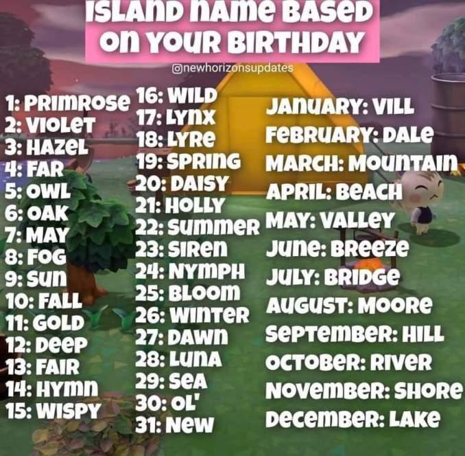 Dieses Bild zeigt verschiedene Namen Kombinationen für eure Insel in Animal Crossing: New Horizons.