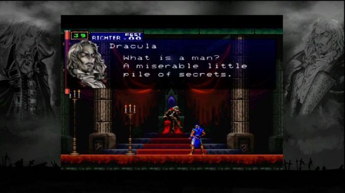 """Das Bild zeigt einen Spielausschnitt aus dem Game """"Castlevania: Symphony of the Night"""". Richter steht vor Dracula und führt einen Dialog mit ihm."""