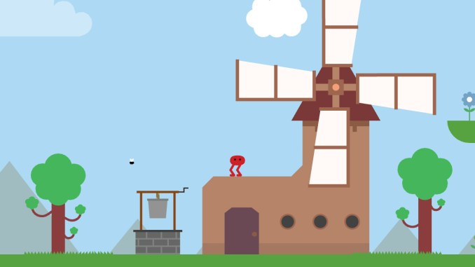 Das Bild zeigt eine Szene aus dem Spiel Pikuniku. Der Hauptcharakter steht auf einem Haus. Neben ihm ist eine Windmühle zu sehen. Das Spiel ist in 2D