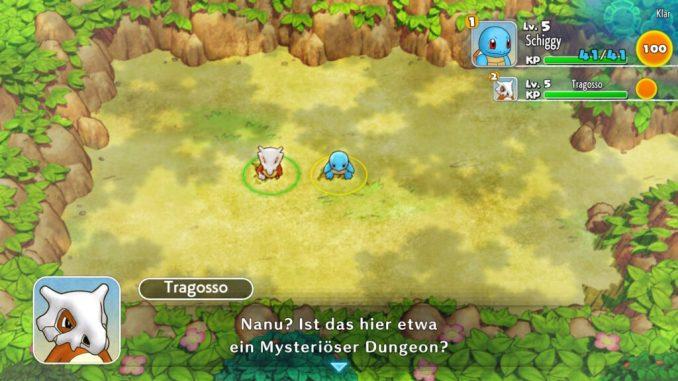 Das Bild zeigt Schiggy und Tragosso im ersten Dungeon.