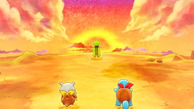 Das Bild zeigt einen Sonnenuntergang vor dem Pokémon Xatu. Schiggy und Tragosso stehen dahinter.