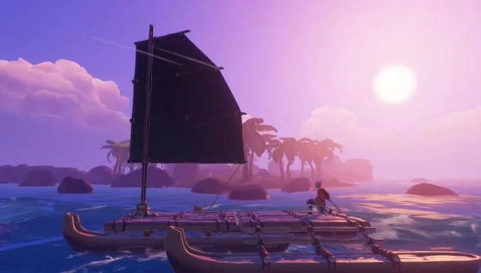 Das Bild zeigt Kara auf einem Boot auf dem Meer in Windbound.