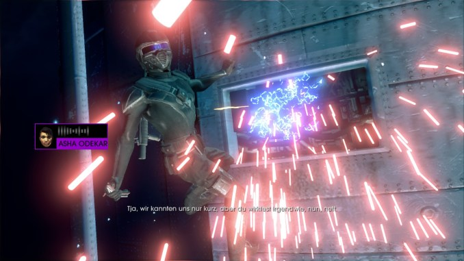 Das Bild zeigt den Spieler, wie er von der Rakete im letzten Moment abspringt.