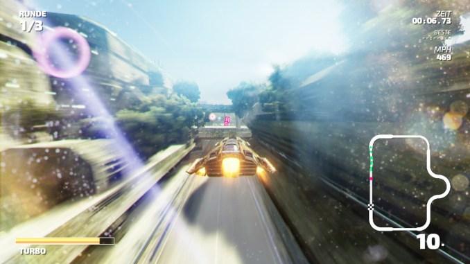 """Das Bild zeigt eine Flug-Passage aus dem Racer """"Fast RMX""""."""