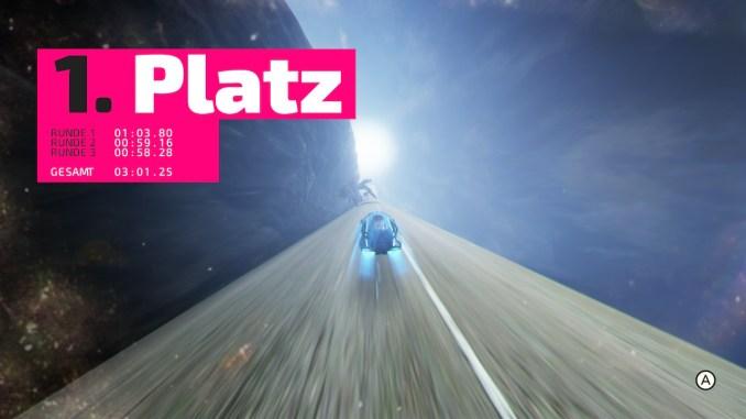 """Das Bild zeigt die Erstplatzierung aus dem Racer """"Fast RMX""""."""