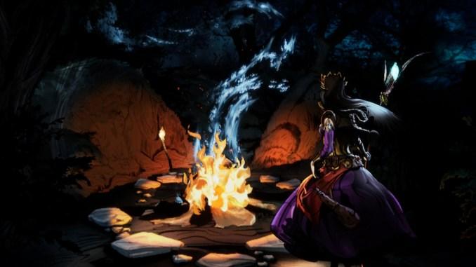 Das Bild zeigt eine comichafte Szene der Eingangssequenz. Zu sehen ist eine Frau an einem Laderfeuer initten eines Waldes.