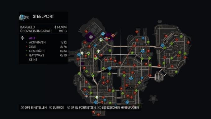 Das Bild zeigt die Karte der Stadt Steelport. Darauf zu erkennen sind die bereits zu Anfang des Spiels zahlreichen Aktivitäten und Ziele, welche in der ganzen Stadt verstreut sind