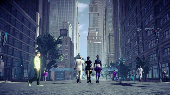 Das Bild zeigt den Spieler mit zwei seiner Mitstreiter, wie sie zum finalen Showdown aufbrechen