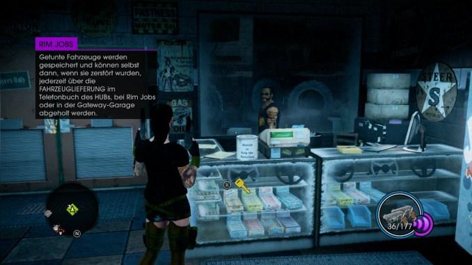 Das Bild zeigt den Spieler in einer Autowerkstatt.