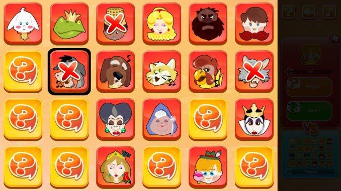 """Das Bild zeigt das Märchen-Spielfeld von GUess The Character. Drei Charaktere sind mit einem """"X"""" gekennzeichnet."""