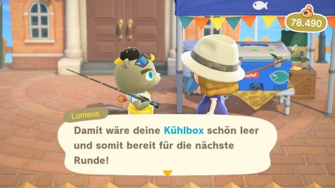 """Das Bild zeigt, eine Unterhaltung mit Lomeus während des Angelturniers in """"Animal Crossing: New Horizons""""."""