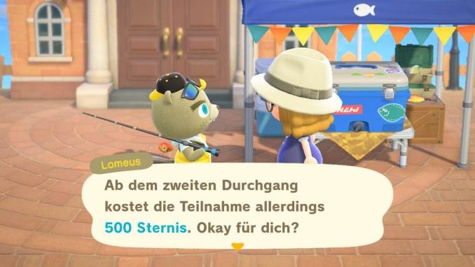 """Dieses Bild zeigt die Teilnahmegebühr für das Angelturnier in """"Animal Crossing: New Horizons""""."""